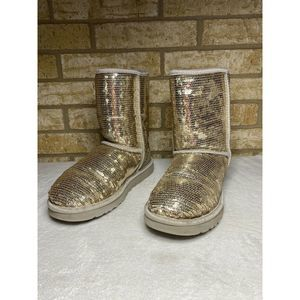 """UGG Boots 8 Silver Rose Gold Sequence 8"""" Baileys"""